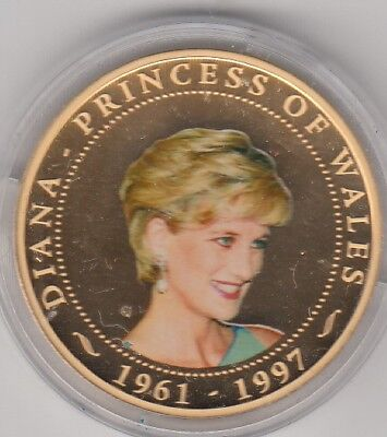 Cook Islands Gold Plated Proof 2007 Diana Princess Of Wales Photo Portrait Coin
