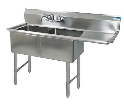 "BK Resources 59""x23.5"" Two Compartment 16 Gauge Stainless Steel Sink"