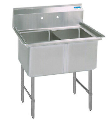 "BK Resources 37""x25.5""x14"" Two Compartment 16 Gauge Stainless Steel Sink"