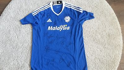 """Superb Bnwt Cardiff City Home Shirt Signed By 20 - """"proof"""""""