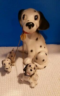 """Vintage Dalmatian Dog Figurine with 2 Puppies on a Chain Ceramic Porcelain 7"""""""