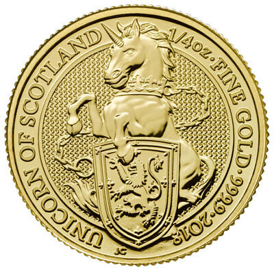 2018 G Britain 1/4 oz Gold Queen's Beasts Unicorn Scotland £25 BU Coin SKU49460