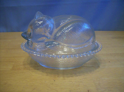 Vintage Indiana Clear Glass Cat/Kitten Sleeping In Basket Covered Dish