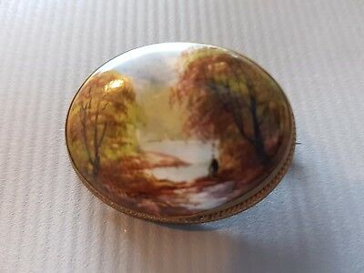 Hand Painted Miniature Vintage Antique Brass Brooch - Astra - Landscape View Man