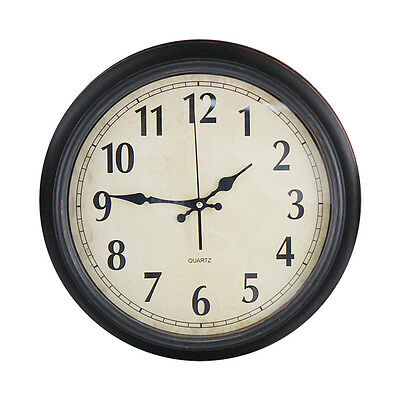 40cm Brown Wall Clock Bed Room Home Large Kitchen Vintage Style Shabby Chic