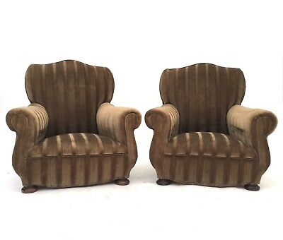 Pair of Antique French Art Deco Early 20thC Armchairs Moustache Back Club Chairs