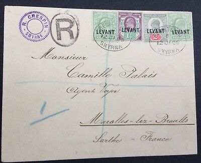 1906, Levant, Smyrna, Combination Cover, KEVII, King Edward, GB, Great Britain