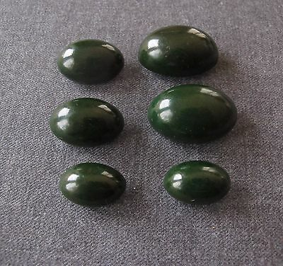 6 Antique 1930's Olive Shaped Green Bakelite Buttons 3 Sizes