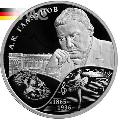Russia 2015 2 rubles Composer A.K. Glazunov Proof Silver Coin