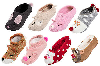 Ladies Christmas Slipper Socks 3D Xmas Footlets Character Ballet Mules Gift Size