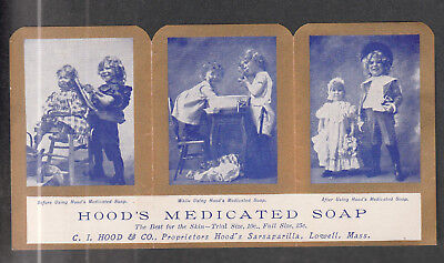 Victorian Trade Card Hoods Medicated Soap Lowell Mass.  3 In 1 Card