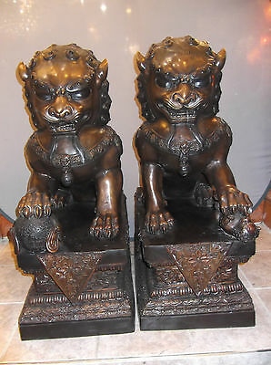 Amazing Very Large Pair of Bronze Foo Dog Statues