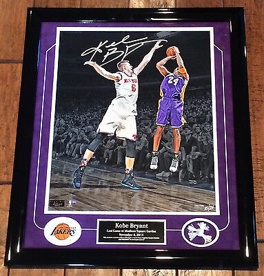"KOBE BRYANT Autographed ""Last Game at MSG"" Framed Photograph LE 8/24 PANINI"