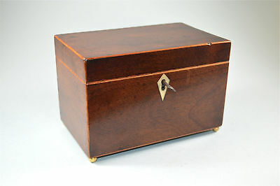 Original Georgian tea caddy mahogany with brass feet lock & key circa.1800