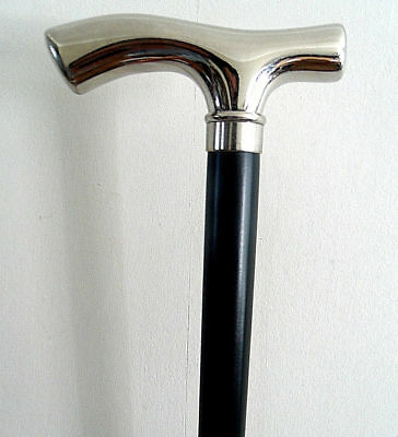 Silver Chrome Fritz Handle Walking Stick Elegant Classic Cane Black Wood Stick