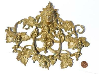 Antique 19thC WINE Goddess Grape Vines Ornate Brass Wall Decoration Plaque