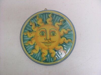 """Vietri Pottery Sun Face Wall Plaque Tile 6"""" Made in Italy"""