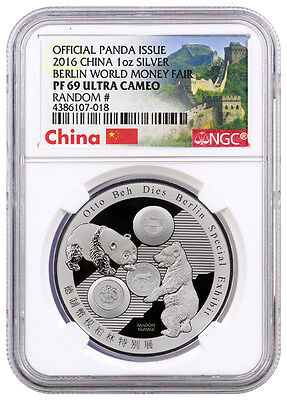 2016 China 1 Oz PF Silver Panda Berlin World Fair NGC PF69 (Great Wall) SKU40589