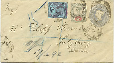 2441 1892 QV 2 ½ D greyblue postal stationery env uprated EARLIEST KNOWN USAGE!!