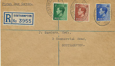 2414 1936 King Edward VIII 1/2, 1 1/2 + 2 1/2 d Registered FDC SOUTHAMPTON