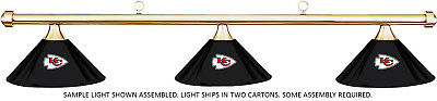 NFL Kansas City Chiefs Black Metal Shade & Brass Bar Billiard Pool Table Light