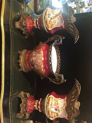 French Porcelain Bronze Mounted Centerpiece And Matching Vases Hand Painted