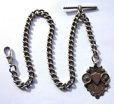 Antique Fully Hallmarked  Silver Albert Watch Chain and Fob