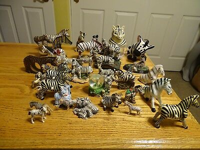 Lot Of 35 Vintage  Zebras Figurines Ceramic Porcelain bone china wood glass more