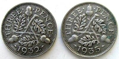 Great Britain Uk Coins, Lot Of 2, Threepence 1932 & 1935, George V, Silver 0.500