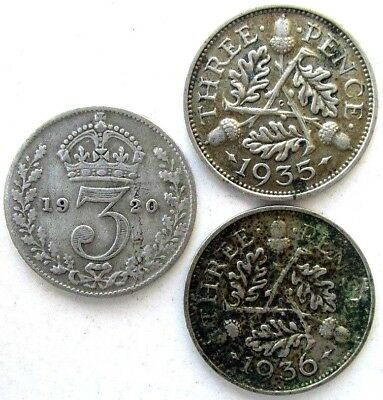 Great Britain Coins, Lot Of 3, Threepence 1920 & 1935 & 1936, George V, Silver