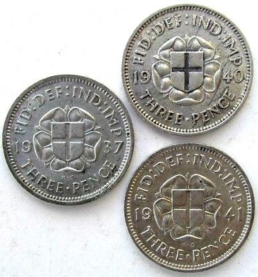Great Britain Uk Coins, Threepence 1937 & 1940 & 1941, George Vi, Silver 0.500