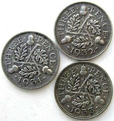 Great Britain Coins, Lot Of 3, Threepence 1931 & 1932 & 1933, George V, Silver