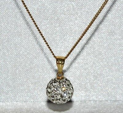 9ct Yellow Gold Sparkling Glitter Ball Ladies Pendant & 18 inch chain -