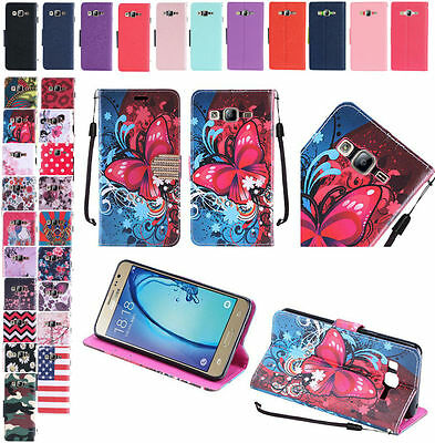 PU Wallet Pouch Case Cover w/Strap For Samsung Galaxy On5 SM-G550 Phone