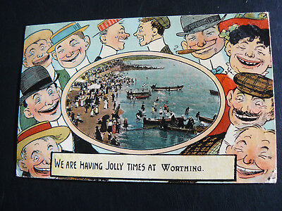 We are having jolly times at Worthing Postcard sent to Miss Thorpe at Colchester