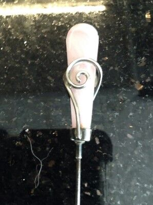 Antique Fully Hallmarked Silver  Pink Stone  Hatpin / Hat Pin - Maker J.w