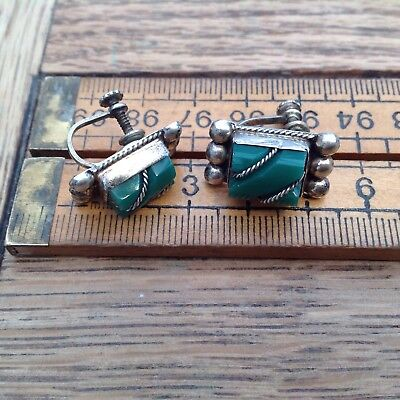 Good Pair Of Vintage Mexican Silver And Green Hard Stone Earrings, Clip On