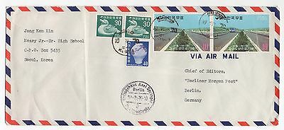 1970 KOREA Air Mail Cover SEOUL To BERLIN GERMANY Berliner Morgen Post