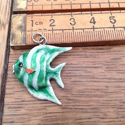 A Vintage Silver And Enamelled Fish Pendant, Lovely Colours