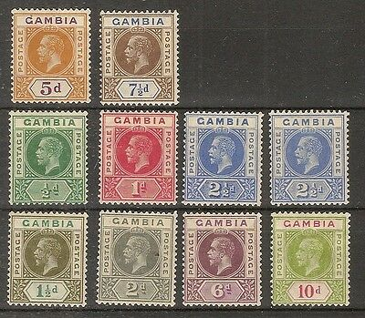 Gambia 1912-22 Definitives Mint Cat£30