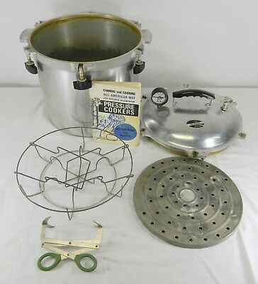 All American Model 921 1/2 Aluminum Home Canner Pressure Cooker W/ Accessories