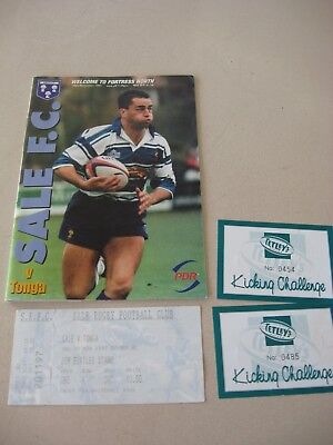 20.11.1997 Sale v Tonga Rygby Union  + Ticket and kicking challenge tickets