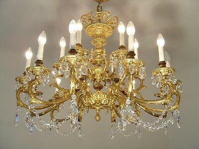 Amazing Big Rare 18 Light Gold Bronze Chandelier Crystal Vintage Lamp Brass