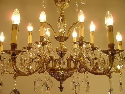 Big Classic Brass 16 Light Chandelier Crystal Vintage Lamp Old Antique