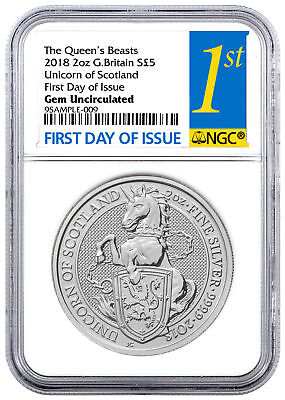 2018 G. Britain 2 oz Silver Queen's Beasts Unicorn Coin NGC GEM BU FDI SKU49481