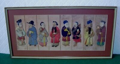 ANTIQUE CHINESE TAPESTRY MALE & FEMALE FIGURES HAND PAINTED FRAMED circa 1890