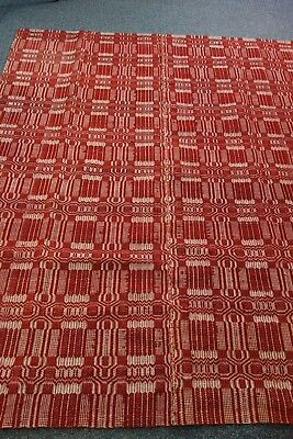Victorian Jacquard Coverlet/Blanket- 65x78-Deep Red/Cream- Handwoven-GORGEOUS