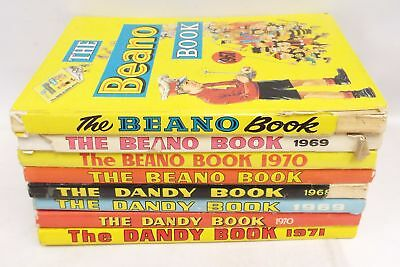 THE BEANO BOOK 1967/69/70/73 and THE DANDY BOOK 1968-1971 Hardback Annuals - K09