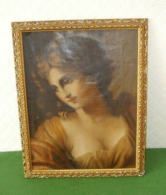 ANTIQUE OIL PAINTING PORTRAIT PRETTY NEO CLASSICAL WOMAN ITALIAN circa 1890