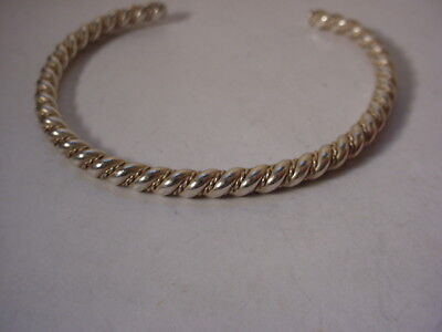 Vintage Sterling Silver Dainty Double Twisted Simple Cuff Bracelet 9.4 Grams